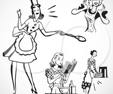 77514-Digital-Collage-Of-Retro-Black-And-White-Cooking-House-Wives-Poster-Art-Print